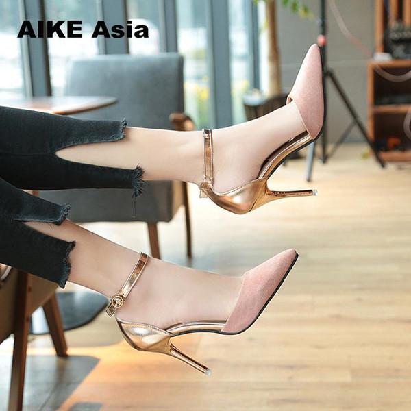 Дизайнерская обувь для одежды летние базовые женские насосы мелкая пряжка ремень тонкие каблуки Острый носок для отдыха офис карьера женщины #8228
