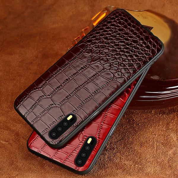 Rindsleder telefon case für huawei mate 9 10 20 pro p10 p20 p30 lite krokodil textur rückseitige abdeckung für honor 8x 9 10 case
