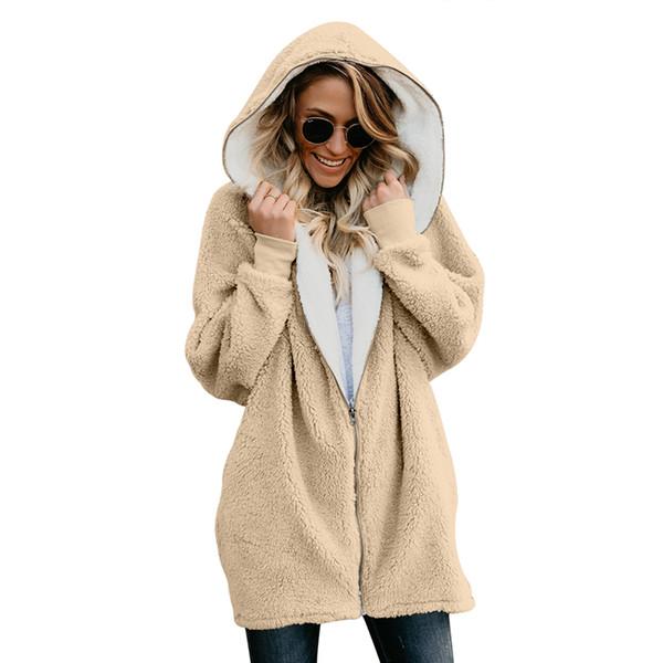 2019 New Women Faux Fur Coat Winter Warm Plush Jacket Female Hooded Casual Fluffy Oversize Teddy Bear Coats Plus Size