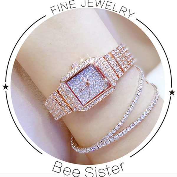 New Hot-Selling Imported Quartz Movement Ladies Chain Watch High-End Custom Full-Water Rhinestone Female Watch Rectangular Dial