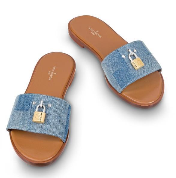 Marca de verano de las mujeres de impresión de letras de lona lienzo Lock It Flat Mule diseñador señora de cuero suela de playa zapatillas