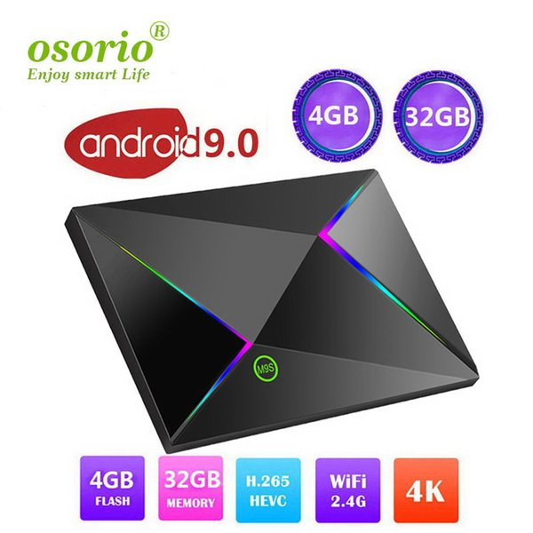 Android 9.0 Caixa de TV M9S Z8 4 GB / 64 GB 4 GB / 32 GB 2 GB / 16 GB M9S Z8 Allwinner H6 núcleo Quad 4 K 1080 P milhares diariamente atualizado filmes programas de tv
