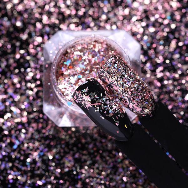 NASCIDO BONITA Holo Flakies Prego Lantejoulas Laser Holográfico Subiu Pós De Ouro Paillettes DIY Manicure Nail Art Decoração 1 Caixa NASCIDO BONITA Holo