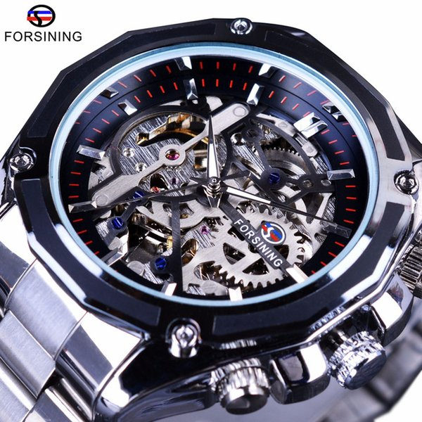 Forsining Skeleton Designer Mens Watches Transparent Case Steampunk Collection Stainless Steel Luxury Top Brand Automatic Mechanical Watch