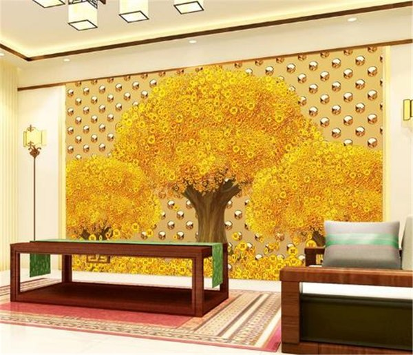 Custom 3d Wallpaper 3D Metal Texture Murals Rich Tree Living Room Bedroom Background Wall Decoration Wallpaper