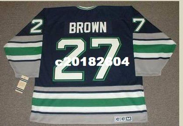 Мужчины #27 Джефф Браун Хартфорд китобои 1995 CCM старинные ретро хоккей Джерси или обычай любое имя или номер ретро Джерси