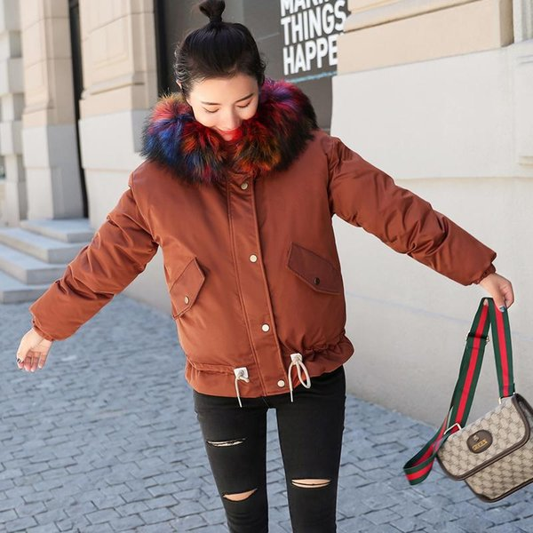 New Womens Winter Jackets and Coats Parkas for Women 3 Colors Wadded Jackets Warm Outwear With a Hood Large Faux Fur Collar