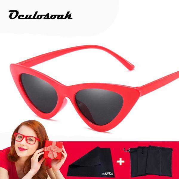 Hot Cat Eye Sunglasses Women Retro Red Mirrored Sun Glasses For Female Vintage Cateye Oculos De Sol Feminino 2019