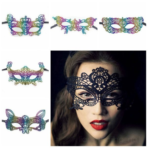 Mysterious Sexy Lace Mask Gilding Colors Halloween Party Masquerade Carnival Mask Women Men Masks Decoration HHA488