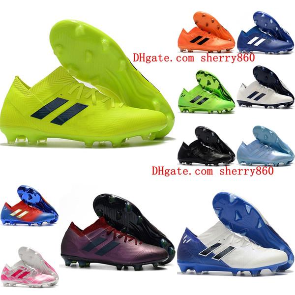 201 nuevos zapatos de fútbol para hombre Nemeziz Messi 18.1 FG, zapatos de fútbol Nemeziz 18 botas de fútbol chuteiras de futebol naranja original
