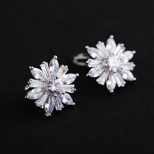 Einfache Weibliche Sonnenblume Zirkon Ohrclips Mode Silber Gold Farbe Hochzeit Ohrringe Elegante Engagement Für Frauen