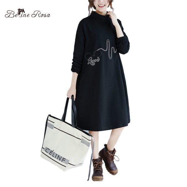 Оптовая зима плюс размер черное платье повседневная водолазка воротник женщины туника с длинным рукавом свободные стиль Женская одежда DMNZ0041
