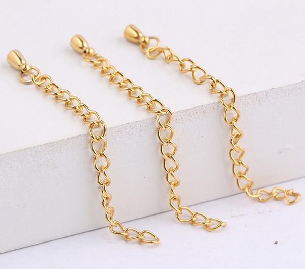 55mm langer Edelstahl vergoldet Halskette Armband Erweiterung verlängert Schwanz Kette DIY Stecker Erkenntnisse für die Schmuckherstellung