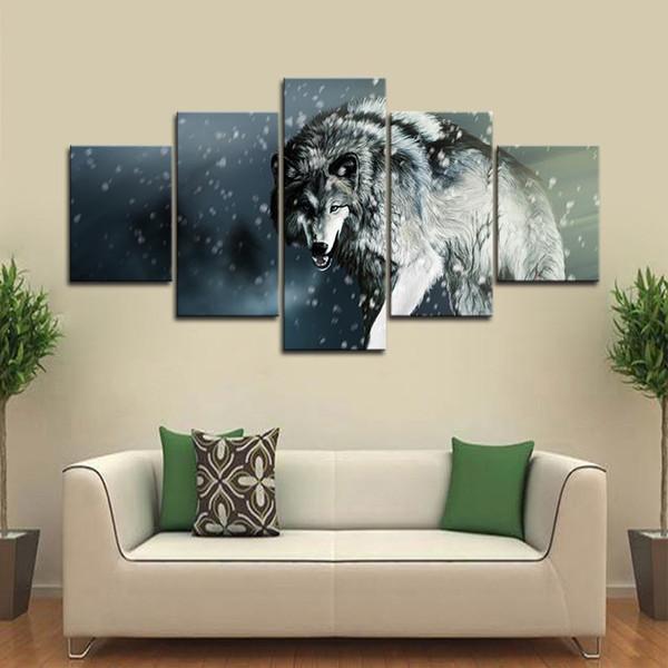 Großhandel 5 STÜCKE Gerahmte Wandkunst Tier Wolf Wandkunst Bilder Für  Wohnzimmer Dekor Poster Und Drucke Leinwand Malerei Von Wallartpaint,  $15.08 Auf ...