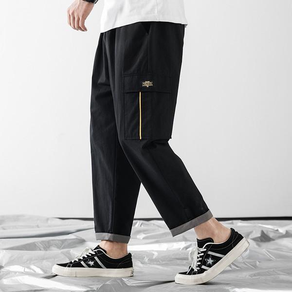 Tide marca de roupas masculinas 2019 novo verão mens calças com um pacote de designer nove calças dos homens perna reta hip top casual calças cor sólida