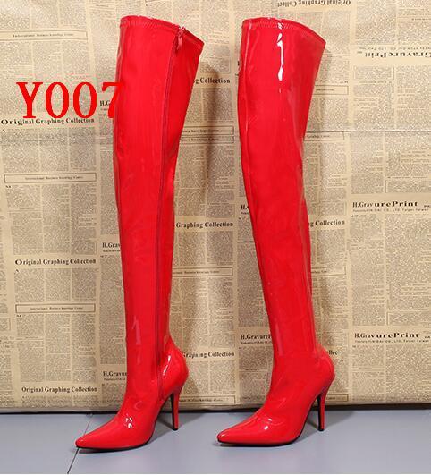 Rihana Mode Frauen Schwarz Rot Weiß Lackleder Lange Stiefel Spitz über der Knie Hohe Ferse Schritt Schritt Stiefel Frau Schuhe