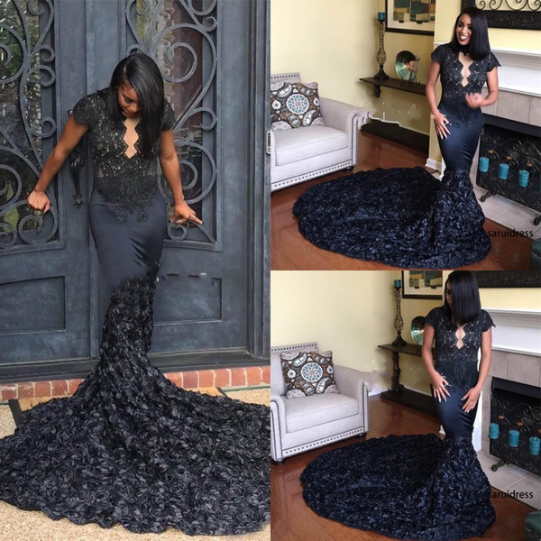 African Black Girls 3D Lace Flowers Long Train Pageant Prom Gowns Elegant 2019 Queen Anne Neck Black Rosette Mermaid Evening Gowns