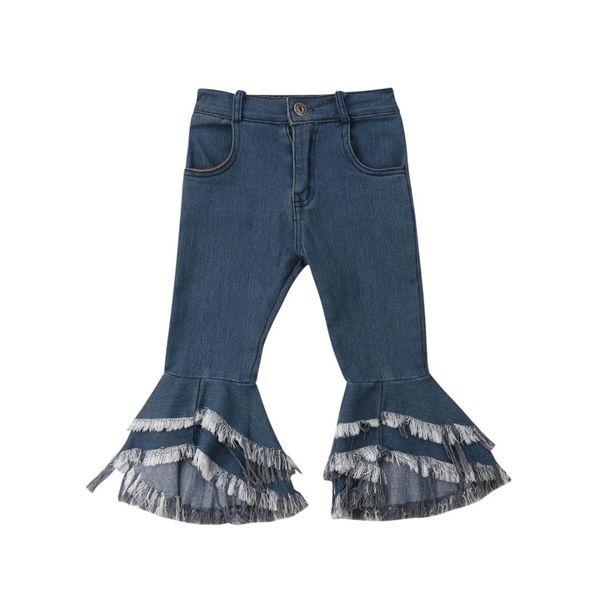 2-7Y Fashion Children Baby Girl Tassel Long Jeans Denim Flared Pant Bell-bottom Trouser Girls Clothes