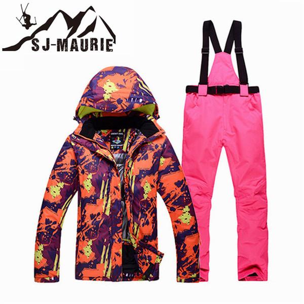 Homens Mulheres Snowboard Ski Suit Ski Jacket Pants Casal Neve Suit Set Waterproof Jacket Brasão Windproof Snowboard Inverno