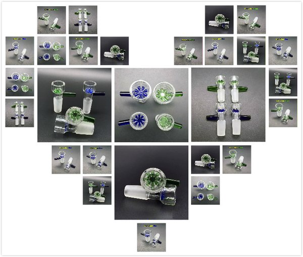 14mm 18mm Male Glass Bowl Piece With Blue Green Snowflake Glass Bowls For Dry Herb Tobacco Glass Water Bongs Bowl Dab Rigs Pipes