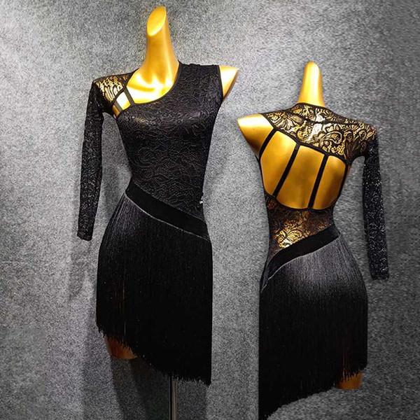 Women'S Latin Dance Dress Black Lace Dance Dress Gatsby Tassel Open Back Salsa Samba Costume Latin Wear 1382