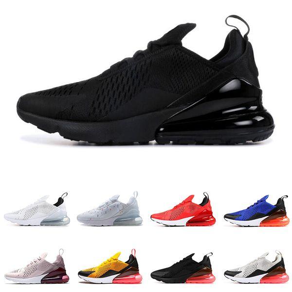 nike air max 270 Sıcak satış erkekler kadınlar için koşu ayakkabıları hava üçlü siyah beyaz Kaplan IŞıK KEMIK BARELY ROSE HABANERO KıRMıZı erkek trainer moda spor sneakers