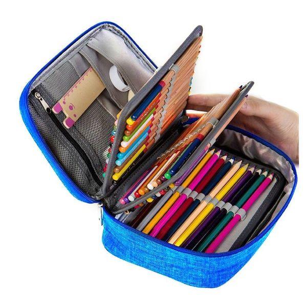 캔버스 학교 소년 소녀 연필 케이스 연필 케이스 72 구멍 펜 상자 다기능 보관 가방 케이스 파우치 학용품