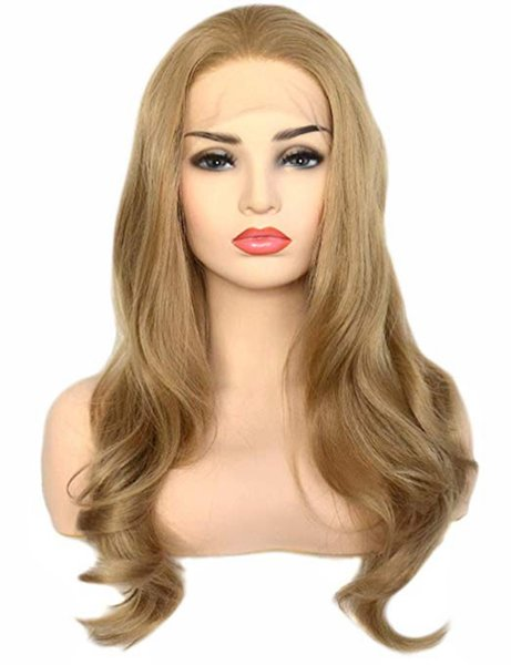 Natural Hairline Long Wavy Dark Ash Blonde Heat Resistant Synthetic Lace Front Wig Glueless Half Hand Tied Replacement Full Wigs for Women