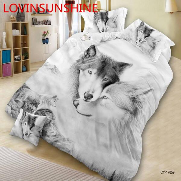 Ensemble de literie motif 3D Wolf imprimé Literie Housse de couette drap de lit taie d'oreiller Ensemble de lit de luxe pour animaux