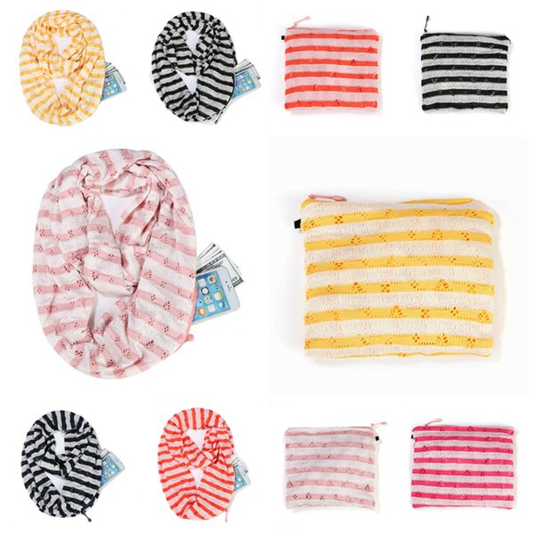 25cm*170cm warm pocket scarf in autumn and winter with invisible zipper storage pocket bib in autumn and winter warm decoration T3I5437