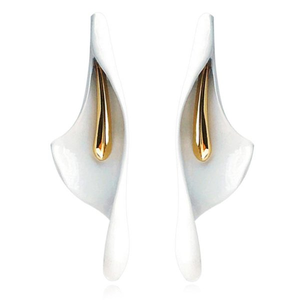 Classic White Imitation Ceramic Calla Lily flower Stud Earrings Fashion Wedding Bride korean Style Jewelry For Women girls Gifts