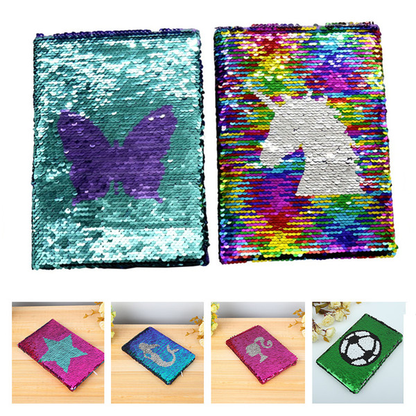 best selling NEW Girls DIY Mermaid Magic Sequin Journal Notebooks Love Heart Unicorn Ball Sequin Office Notepads School Diary Stationery Gift