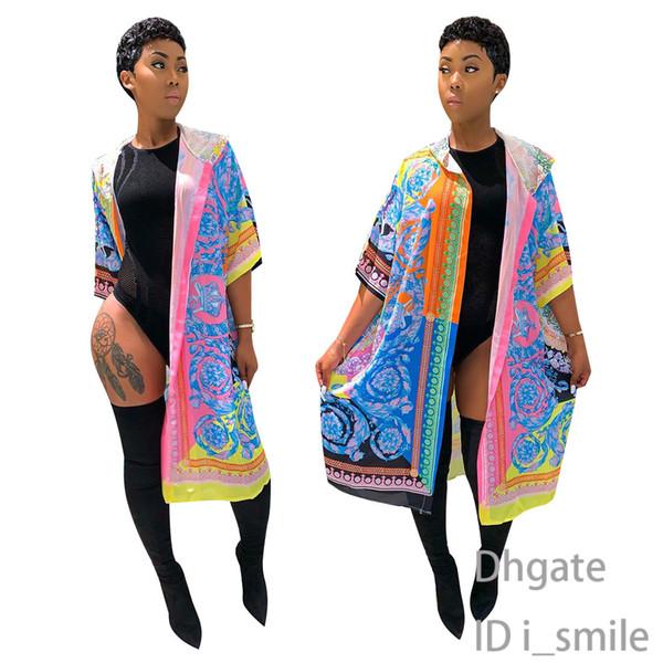 Ceket Pelerin bayan tasarımcı uzun kapüşonlu pelerin Avrupa ve Amerikan tarzı baskı bayan moda pelerin