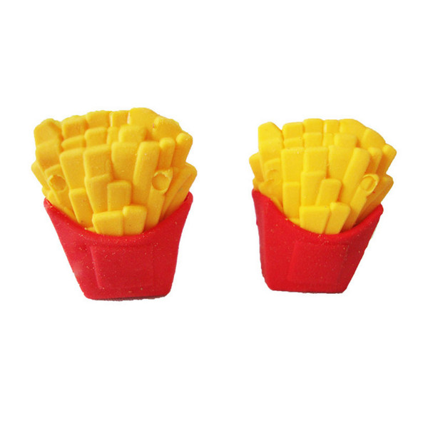 French fries rubber eraser removable eraser stationery school supplies Free shippingpapelaria gift toy for kids penil eraser toy gifts