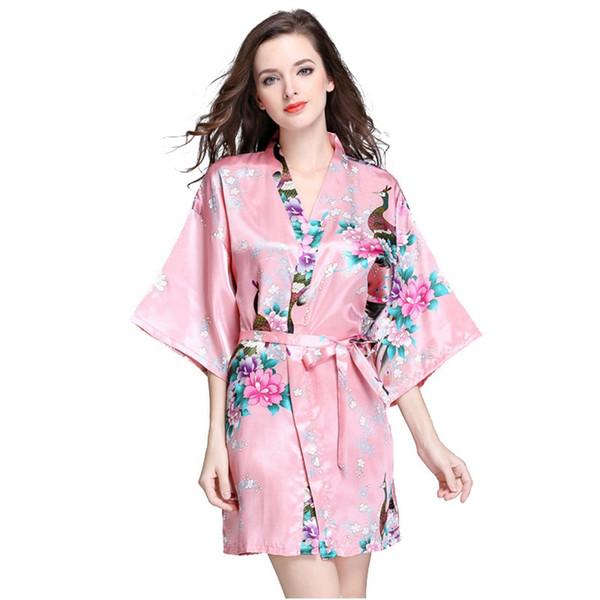 12 farben bademantel schlafkleid s-xxl frauen japanische silk kimono robe pyjamas nachthemd nachtwäsche nachtwäsche floral underwear vva454