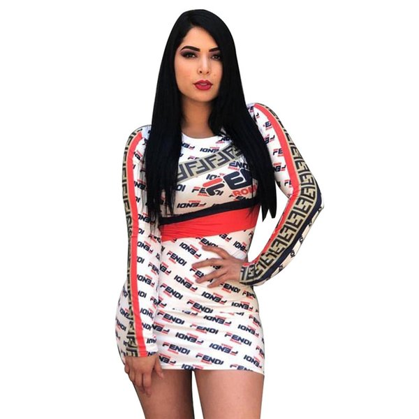 Women s Long Sleeve Bodycon Skinny Dress Double F Letter printed Skirt High  Neck Striped Tight Mini Skirts one Piece Club Party dress C43006
