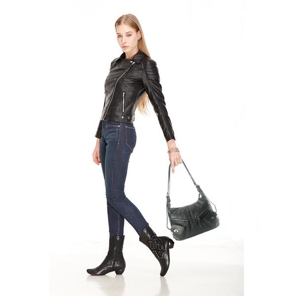 Kadın siyah retro moda omuz çantası zarif çanta bayan banliyö sırt çantası LongLight # 140628