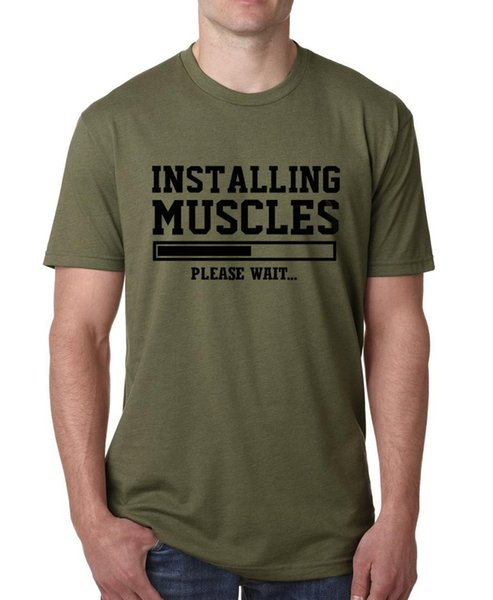 INSTALLING MUSCLES print T shirt men 2017 fashion brand hip-hop tops male funny fitness top Tee Shirt cotton plus size clothing