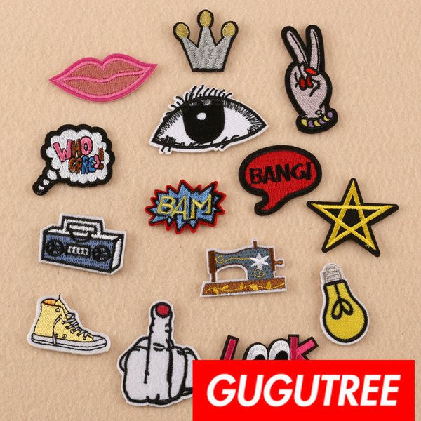 GUGUTREE iron on embroidery eyes patches badge patch Applique Patch for Coat,T-Shirt,hat,bags,Sweater,backpack SP-313