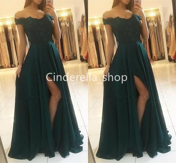 2019 Prom Dresses in Chiffon di pizzo verde scuro a lungo con spacco laterale A-Line Off The Spalline Abiti da cerimonia formale con perline Plus Size