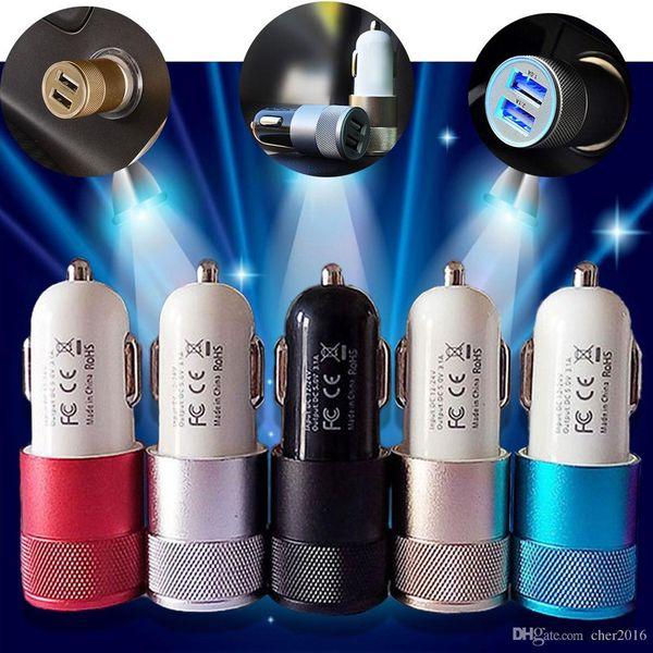 DC12V ~ 24V Dual USB DC5V 3.1A chargeur de voiture 2.1A 1A deux ports pour Smart Mobile téléphone portable Samsung adaptateur universel
