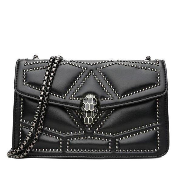Tasarımcı-marka kadın çanta sokak eğilim üç boyutlu elmas omuz çantası moda yılanbaşı kilit el çantası INS süper yangın perçin zinciri