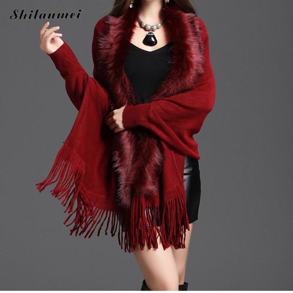 7bdbf0585 faux fur poncho capes Coupons - Vintage Women Faux Fur Coat Tassel  Artificial Fur Collar Ponchos