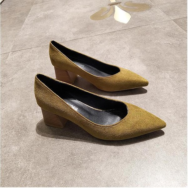 Zapatos de vestir Eoeodoit Mujeres punta estrecha Slip On Pumps Med Cuadrado talón Primavera Verano Sexy V Boca Casual Oficina Señora Ol 5 Cm