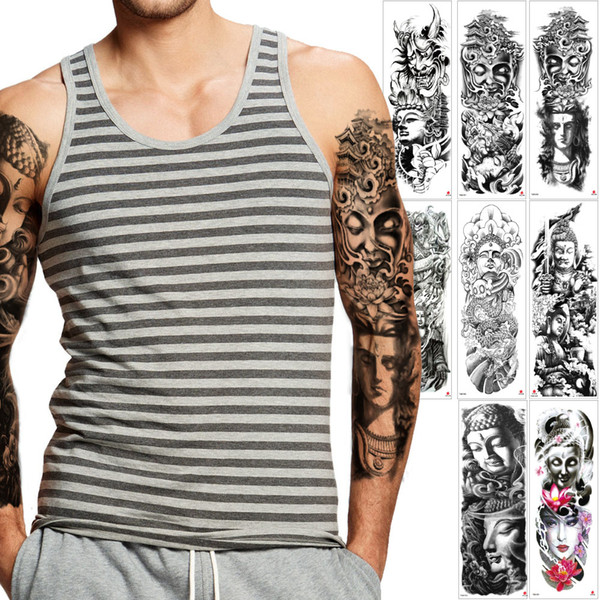 Large Temporary Buddha Tattoo Design Big Sticker Full Arm Sleeve Devil Lotus Flower Beauty Women Decal Waterproof Fake Body Art Tattoo Party