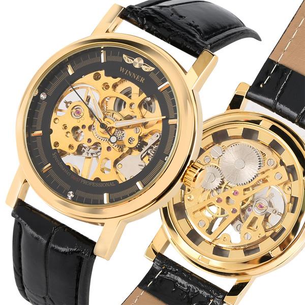 051d17e0187e GANADOR Reloj mecánico de moda para los hombres Esqueleto de oro Reloj  mecánico de cuerda manual