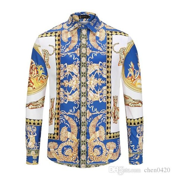2018 American business brand self-cultivation plaid shirt, fashion designer brand long-sleeved cotton casual shirt striped co-dress shirt 58