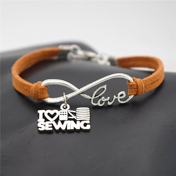 New Women Men Fashion Antique Silver Infinity Love Charm I Love Sewing Machine Pendant Brown Leather Rope Bracelet Unique Party Gift Jewelry