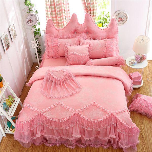 Purple pink red princess style korean Bedding set Full Queen King size Bed Cotton jacquard Duvet cover skirt Pillowcaes