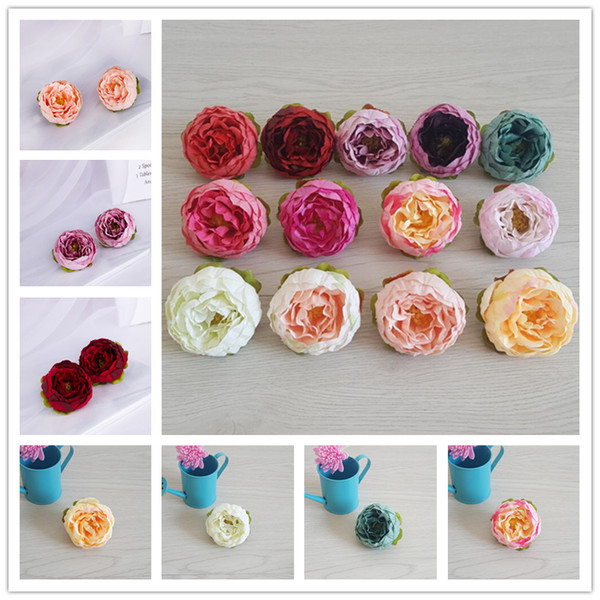 best selling Artificial Flowers Silk Peony Flower Heads Home Party Wedding Decoration Supplies Simulation Fake Flower Head DIY Garland Wall Archway